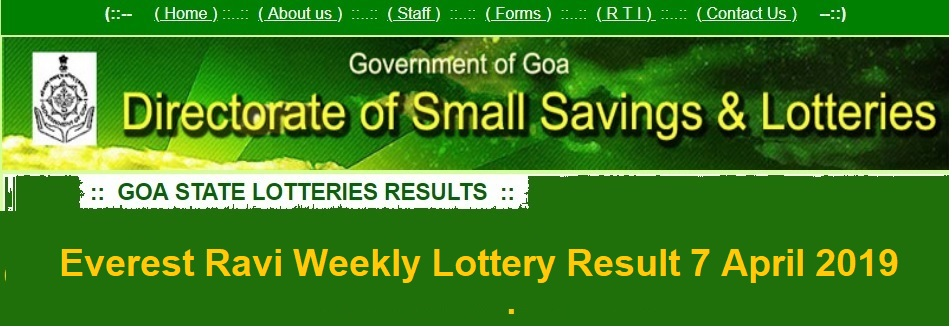 [nicgoa.nic.in] Everest Ravi Weekly Lottery Result 7 April 2019 - Dhankesari Todays 07-04-2019