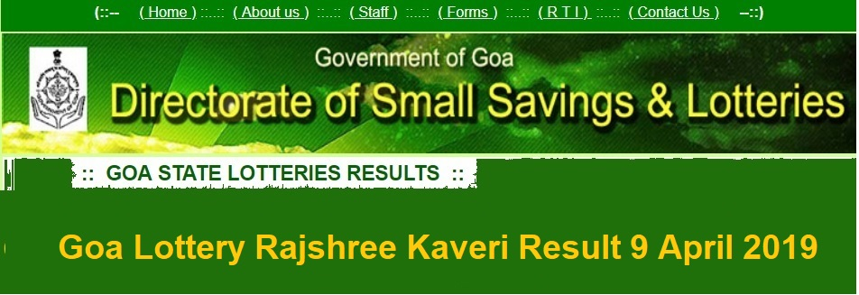 Goa Lottery Rajshree Kaveri Result 9 April 2019