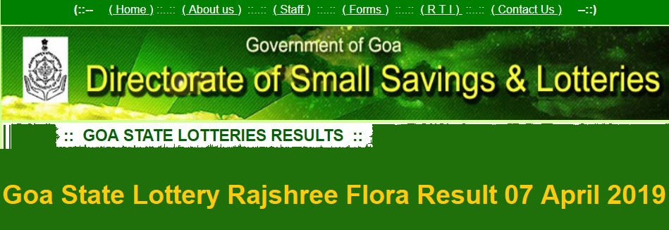 [www.ildl.in] Goa State Lottery Rajshree Flora Result 07 April 2019