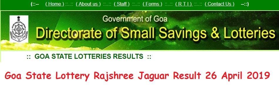 Goa State Lottery Rajshree Jaguar Result 26 April 2019