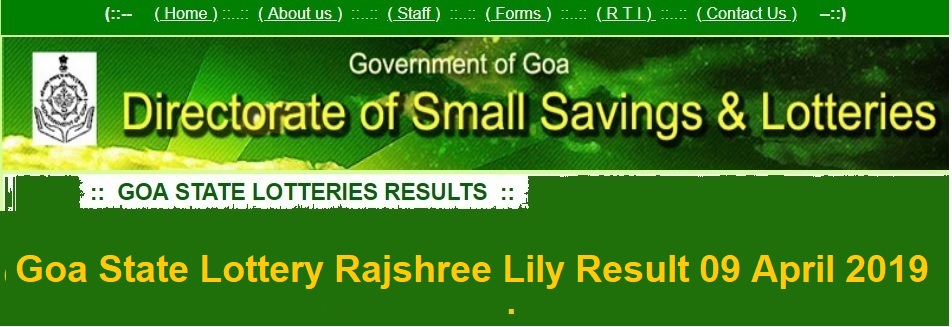 Goa State Lottery Rajshree Lily Result 09 April 2019