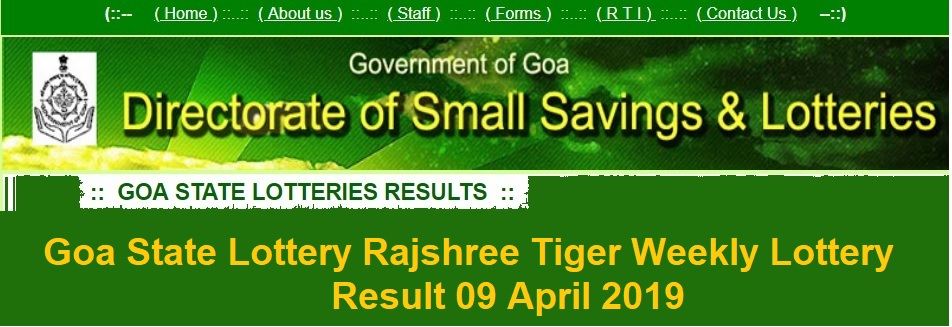 [www.ildl.in] Goa State Lottery Rajshree Tiger Weekly Lottery Result 09 April 2019