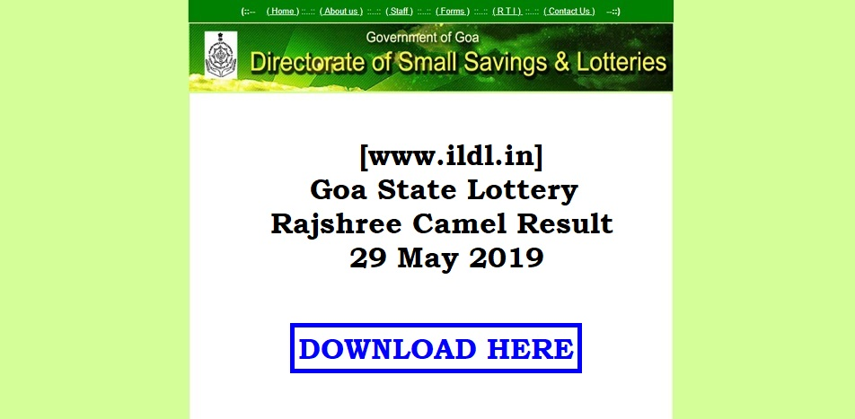[www.ildl.in] Goa State Lottery Rajshree Camel Result 29 May 2019