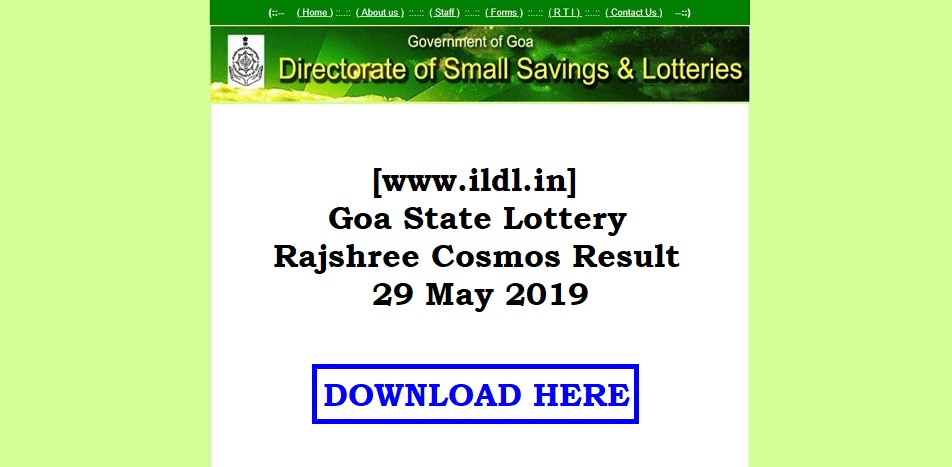 [www.ildl.in] Goa State Lottery Rajshree Cosmos Result 29 May 2019
