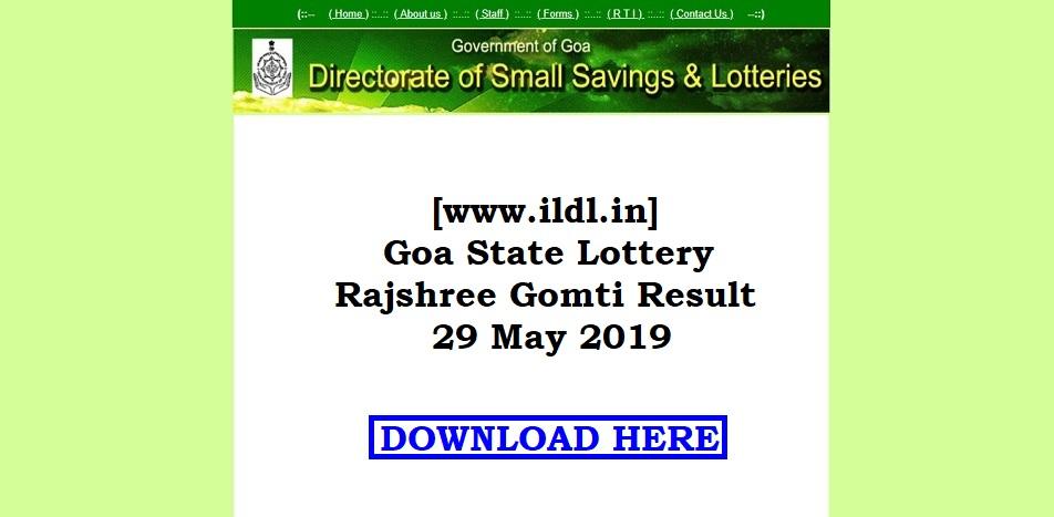 [www.ildl.in] Goa State Lottery Rajshree Gomti Result 29 May 2019