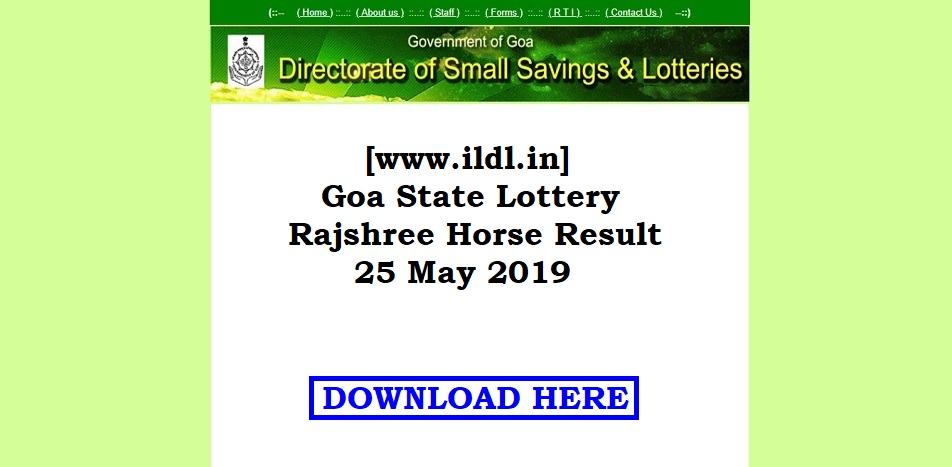 www ildl in] Goa State Lottery Rajshree Horse Result 25 May 2019