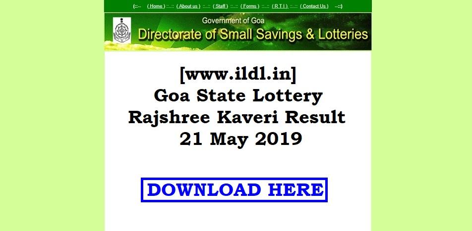 www ildl in] Goa State Lottery Rajshree Kaveri Result 21 May