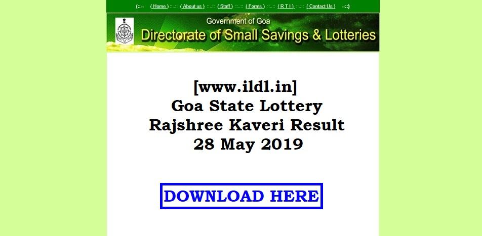[www.ildl.in] Goa State Lottery Rajshree Kaveri Result 28 May 2019