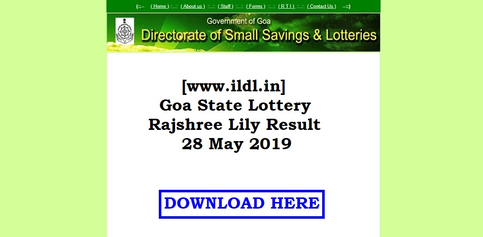 [www.ildl.in] Goa State Lottery Rajshree Lily Result 28 May 2019