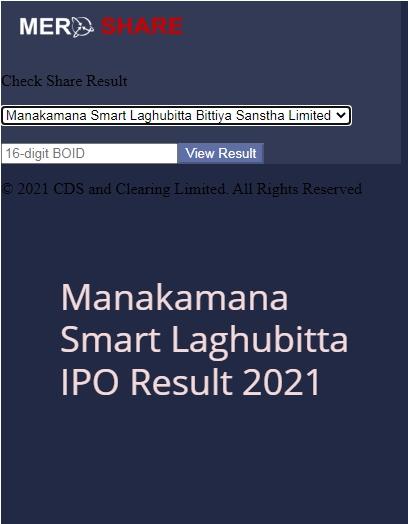 Manakamana Smart Laghubitta IPO Result 2021