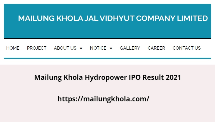 Mailung Khola Hydropower IPO Result 2021