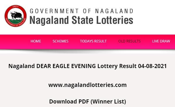 Live – Nagaland DEAR EAGLE EVENING Lottery Result 04-08-2021 (www.nagalandlotteries.com) 8 PM Dear Friday Evening 136th Draw